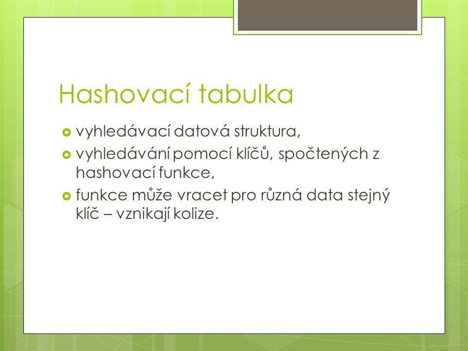 Hashovací tabulka  vyhledávací datová struktura,  vyhledávání pomocí klíčů, spočtených z hashovací funkce,  funkce může vracet pro různá data stejný klíč – vznikají kolize.