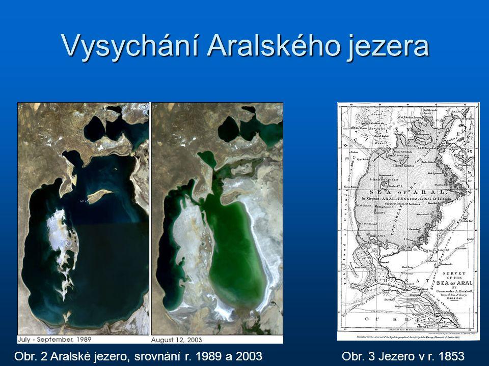 Vysychání Aralského jezera Obr. 2 Aralské jezero, srovnání r. 1989 a 2003Obr. 3 Jezero v r. 1853