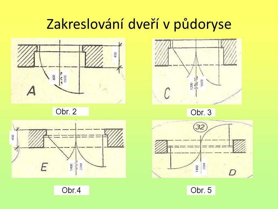 Zakreslování dveří v půdoryse 800 1970 450 Obr.2.