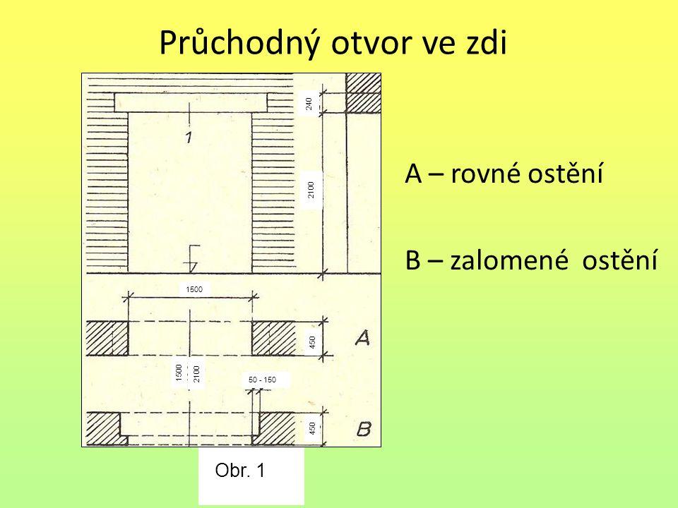 Průchodný otvor ve zdi A – rovné ostění B – zalomené ostění 24024022402402 Obr. 1. 1 240 2100 1500 50 - 150 1500 2100 450 240