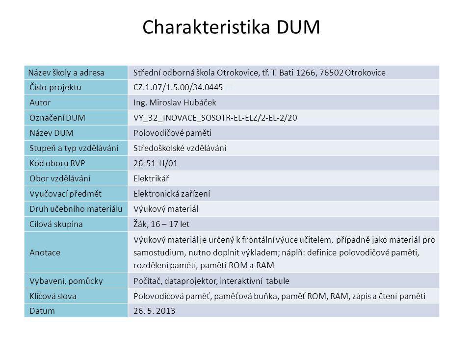 Polovodičové paměti Náplň výuky Definice paměti Rozdělení pamětí Realizace paměti ROM Realizace paměti RAM