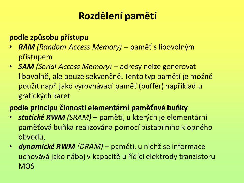 Struktura polovodičové paměti Polovodičové paměti se skládají z tzv.