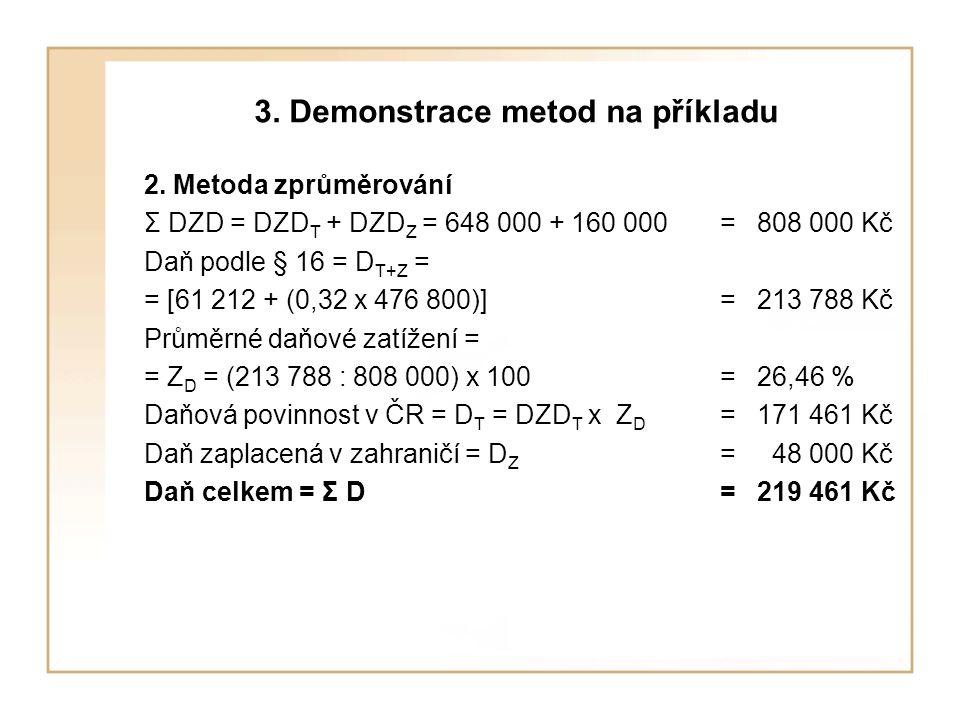 3. Demonstrace metod na příkladu 2. Metoda zprůměrování Σ DZD = DZD T + DZD Z = 648 000 + 160 000= 808 000 Kč Daň podle § 16 = D T+Z = = [61 212 + (0,