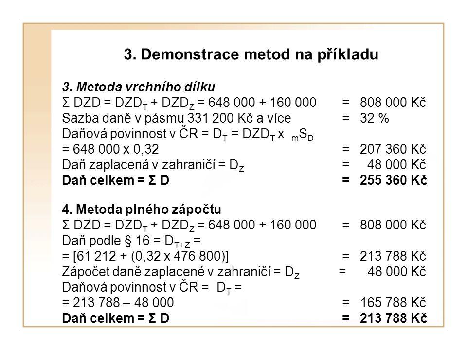 3. Demonstrace metod na příkladu 3. Metoda vrchního dílku Σ DZD = DZD T + DZD Z = 648 000 + 160 000 = 808 000 Kč Sazba daně v pásmu 331 200 Kč a více=