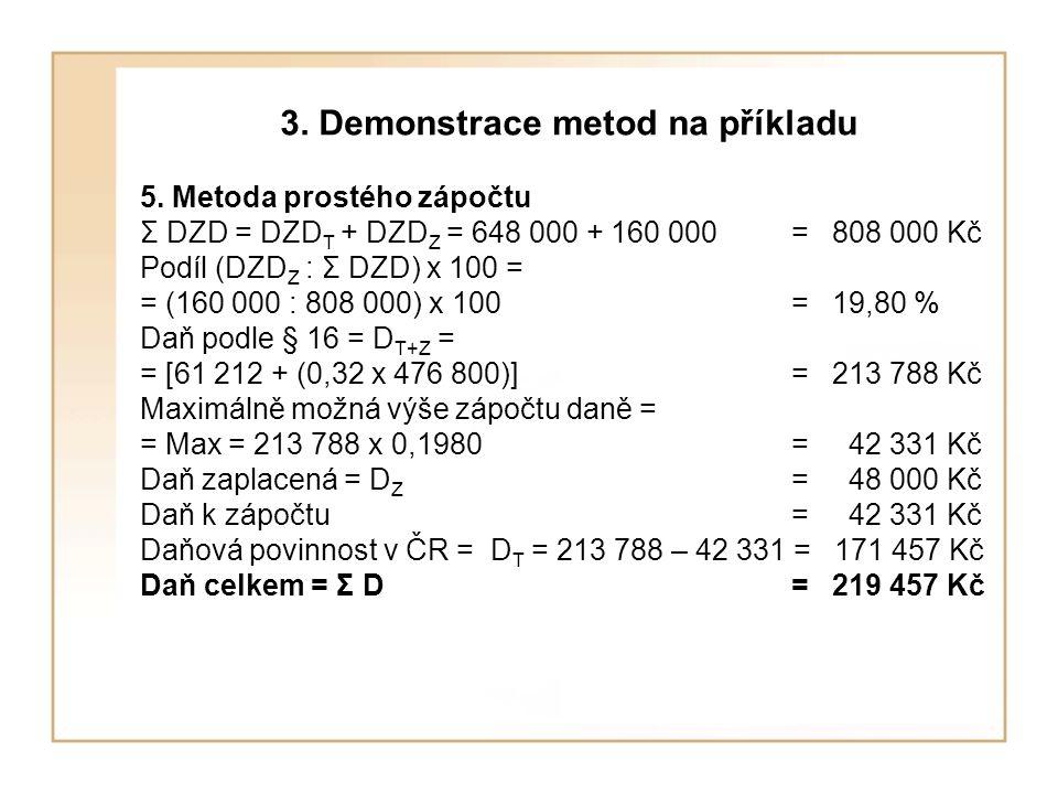 3. Demonstrace metod na příkladu 5. Metoda prostého zápočtu Σ DZD = DZD T + DZD Z = 648 000 + 160 000 = 808 000 Kč Podíl (DZD Z : Σ DZD) x 100 = = (16