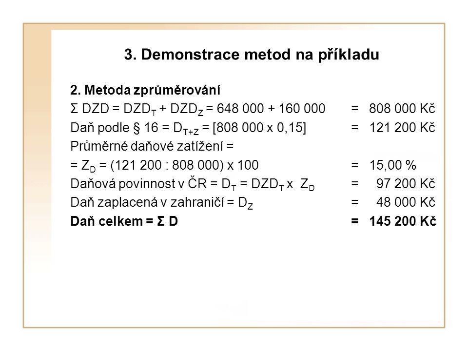 3. Demonstrace metod na příkladu 2. Metoda zprůměrování Σ DZD = DZD T + DZD Z = 648 000 + 160 000= 808 000 Kč Daň podle § 16 = D T+Z = [808 000 x 0,15