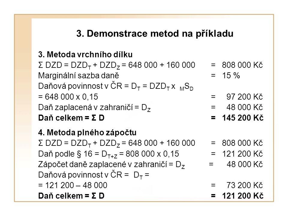 3. Demonstrace metod na příkladu 3. Metoda vrchního dílku Σ DZD = DZD T + DZD Z = 648 000 + 160 000 = 808 000 Kč Marginální sazba daně= 15 % Daňová po