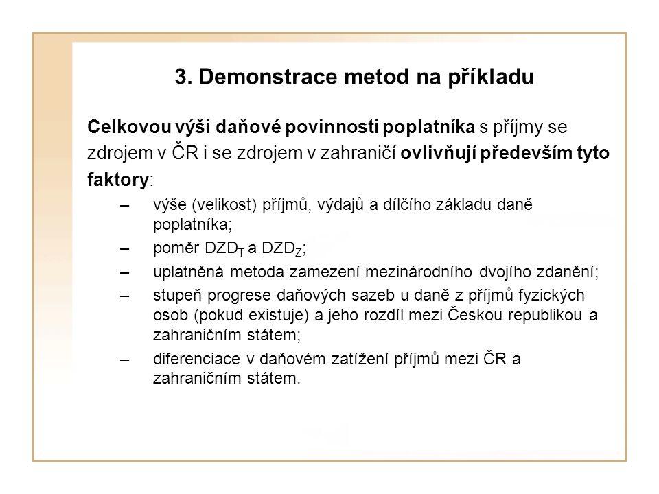3. Demonstrace metod na příkladu Celkovou výši daňové povinnosti poplatníka s příjmy se zdrojem v ČR i se zdrojem v zahraničí ovlivňují především tyto