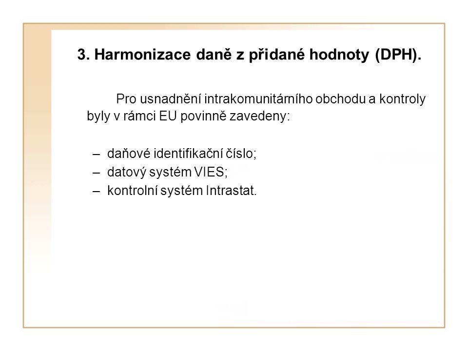 3. Harmonizace daně z přidané hodnoty (DPH). Pro usnadnění intrakomunitárního obchodu a kontroly byly v rámci EU povinně zavedeny: –daňové identifikač