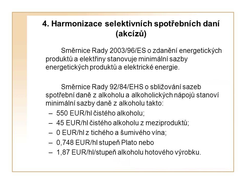 4. Harmonizace selektivních spotřebních daní (akcízů) Směrnice Rady 2003/96/ES o zdanění energetických produktů a elektřiny stanovuje minimální sazby