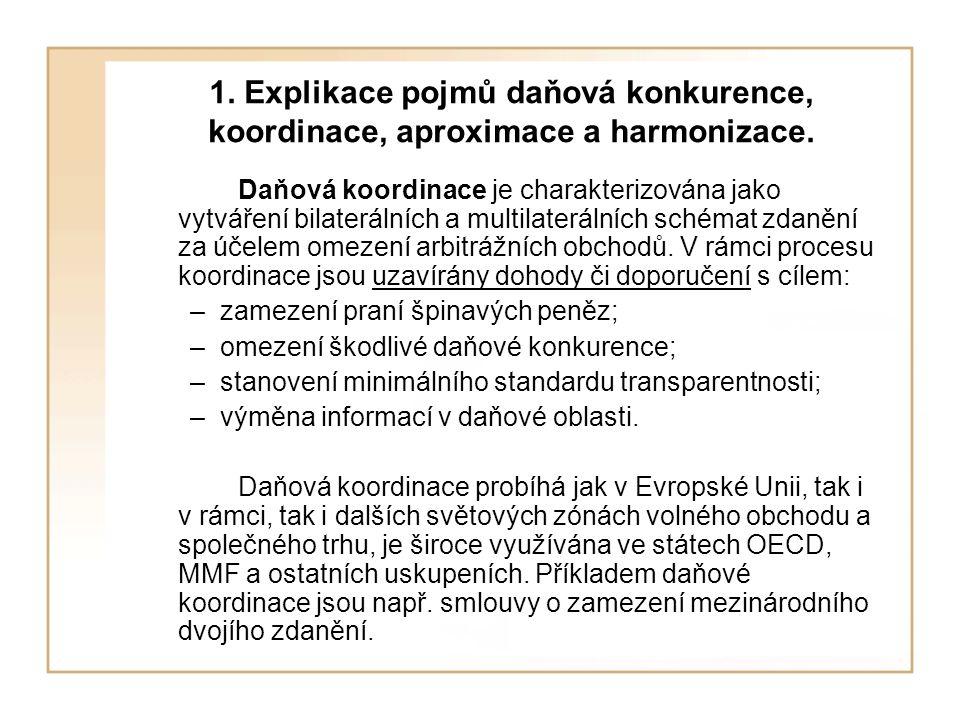 1. Explikace pojmů daňová konkurence, koordinace, aproximace a harmonizace. Daňová koordinace je charakterizována jako vytváření bilaterálních a multi