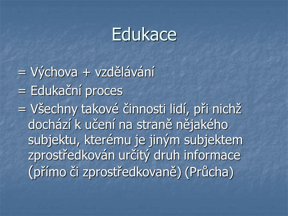 Edukace = Výchova + vzdělávání = Edukační proces = Všechny takové činnosti lidí, při nichž dochází k učení na straně nějakého subjektu, kterému je jin