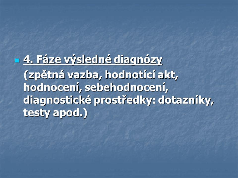 4. Fáze výsledné diagnózy 4. Fáze výsledné diagnózy (zpětná vazba, hodnotící akt, hodnocení, sebehodnocení, diagnostické prostředky: dotazníky, testy