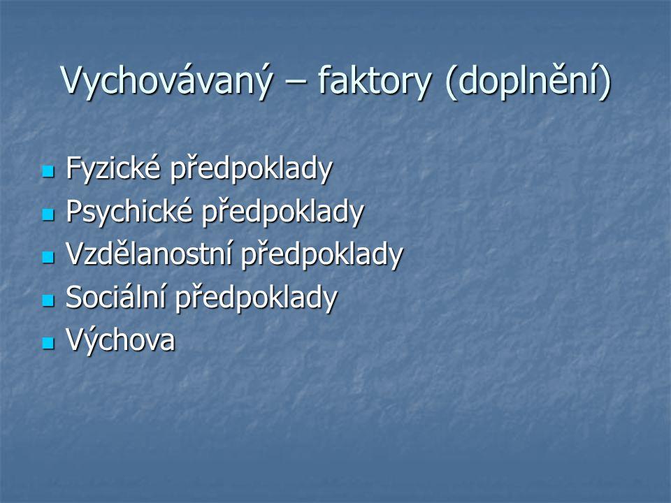 Vychovávaný – faktory (doplnění) Fyzické předpoklady Fyzické předpoklady Psychické předpoklady Psychické předpoklady Vzdělanostní předpoklady Vzdělano