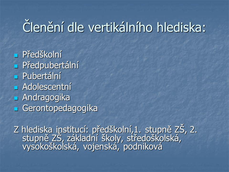 Členění dle vertikálního hlediska: Předškolní Předškolní Předpubertální Předpubertální Pubertální Pubertální Adolescentní Adolescentní Andragogika And