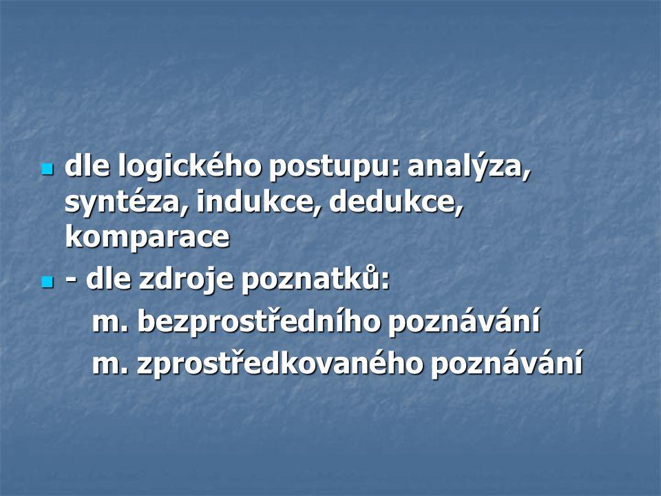 dle logického postupu: analýza, syntéza, indukce, dedukce, komparace dle logického postupu: analýza, syntéza, indukce, dedukce, komparace - dle zdroje