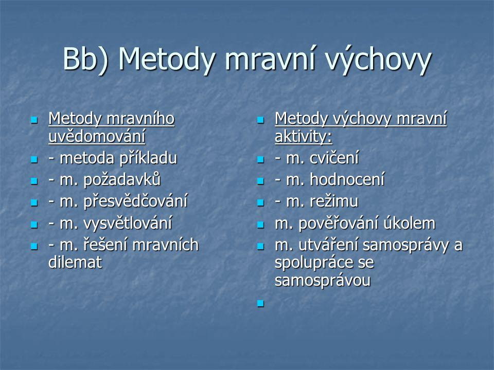 Bb) Metody mravní výchovy Metody mravního uvědomování Metody mravního uvědomování - metoda příkladu - metoda příkladu - m. požadavků - m. požadavků -