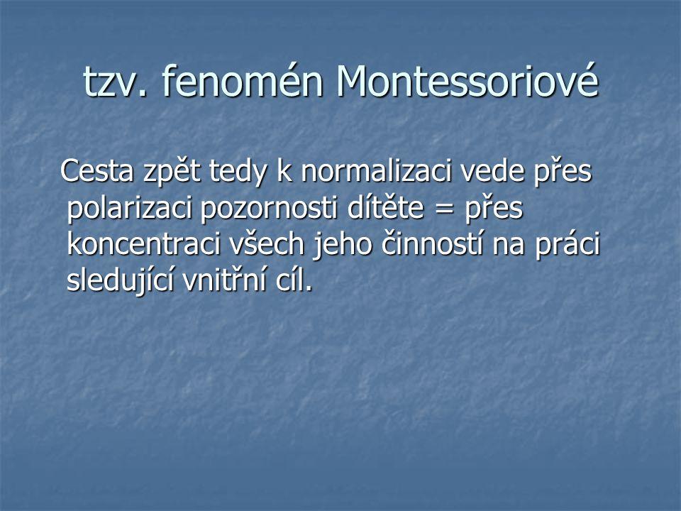 tzv. fenomén Montessoriové Cesta zpět tedy k normalizaci vede přes polarizaci pozornosti dítěte = přes koncentraci všech jeho činností na práci sleduj
