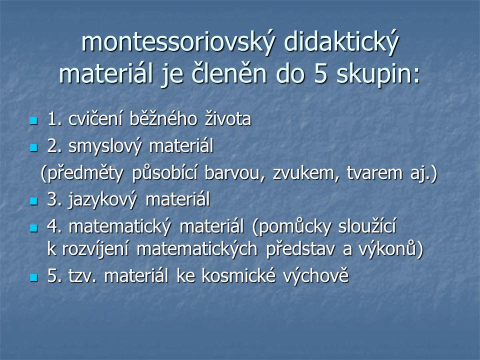 montessoriovský didaktický materiál je členěn do 5 skupin: 1. cvičení běžného života 1. cvičení běžného života 2. smyslový materiál 2. smyslový materi