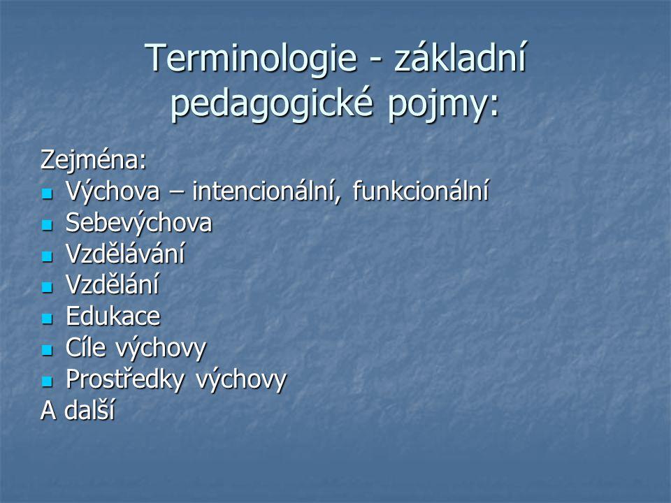 Terminologie - základní pedagogické pojmy: Zejména: Výchova – intencionální, funkcionální Výchova – intencionální, funkcionální Sebevýchova Sebevýchov