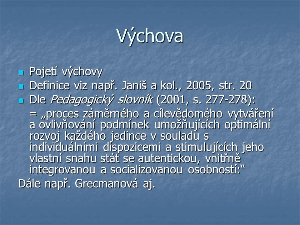 Výchova Pojetí výchovy Pojetí výchovy Definice viz např. Janiš a kol., 2005, str. 20 Definice viz např. Janiš a kol., 2005, str. 20 Dle Pedagogický sl