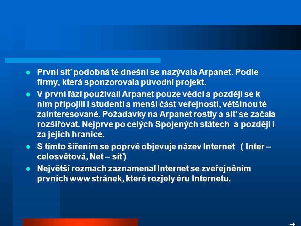 První síť podobná té dnešní se nazývala Arpanet.Podle firmy, která sponzorovala původní projekt.
