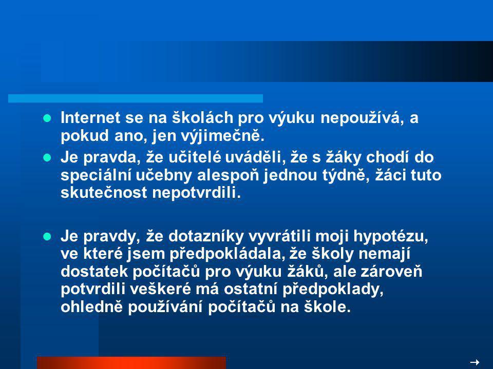 Internet se na školách pro výuku nepoužívá, a pokud ano, jen výjimečně.