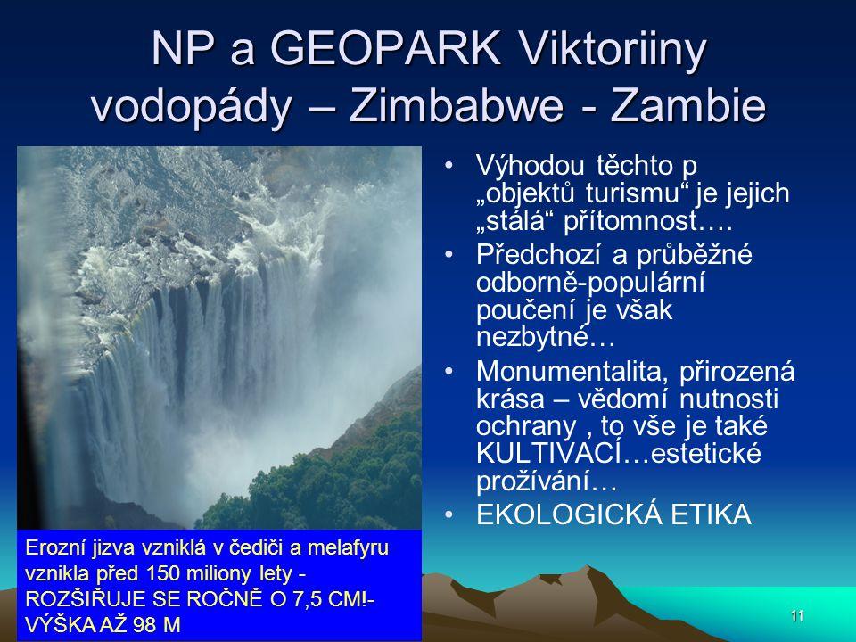 """11 NP a GEOPARK Viktoriiny vodopády – Zimbabwe - Zambie Výhodou těchto p """"objektů turismu"""" je jejich """"stálá"""" přítomnost…. Předchozí a průběžné odborně"""