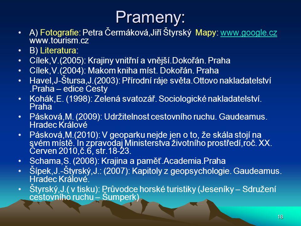 18 Prameny: A) Fotografie: Petra Čermáková,Jiří Štyrský Mapy: www.google.cz www.tourism.czwww.google.cz B) Literatura: Cílek,V.(2005): Krajiny vnitřní