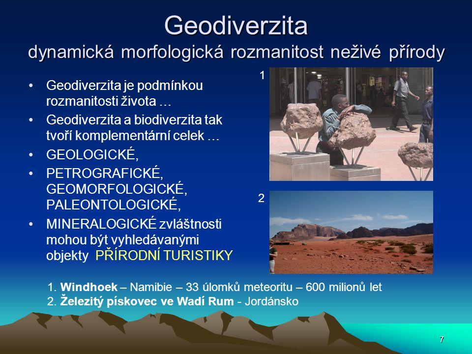 7 Geodiverzita dynamická morfologická rozmanitost neživé přírody Geodiverzita je podmínkou rozmanitosti života … Geodiverzita a biodiverzita tak tvoří