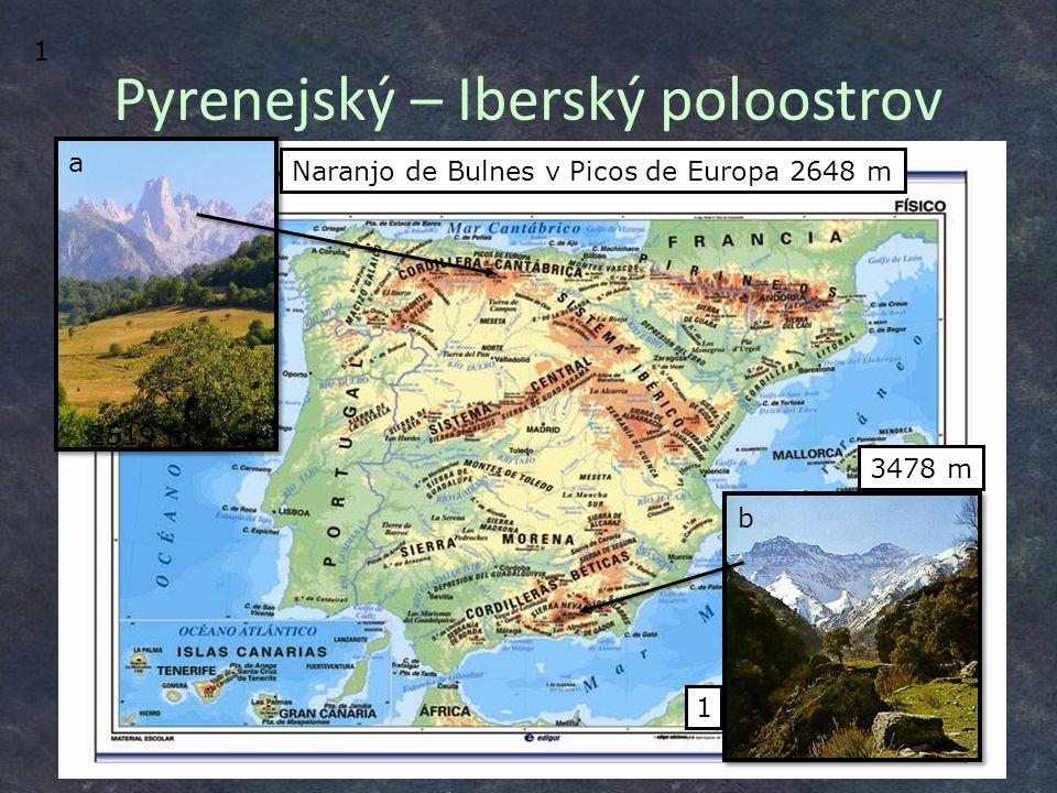 ?– Pico de Teide– 3718 m Sierra Nevada– Mulhacén– 3478 m Pyreneje– Pico de Aneto– 3404 m Trás os Montes severovýchod Portugalska 2 Typy přírodní krajiny Španělska A) Velehory alpinského typu (Pyreneje, Sierra Nevada) B) Suché náhorní rovniny (600 m n.
