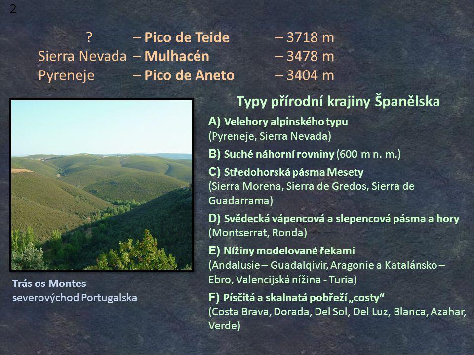 – Pico de Teide– 3718 m Sierra Nevada– Mulhacén– 3478 m Pyreneje– Pico de Aneto– 3404 m Trás os Montes severovýchod Portugalska 2 Typy přírodní krajiny Španělska A) Velehory alpinského typu (Pyreneje, Sierra Nevada) B) Suché náhorní rovniny (600 m n.