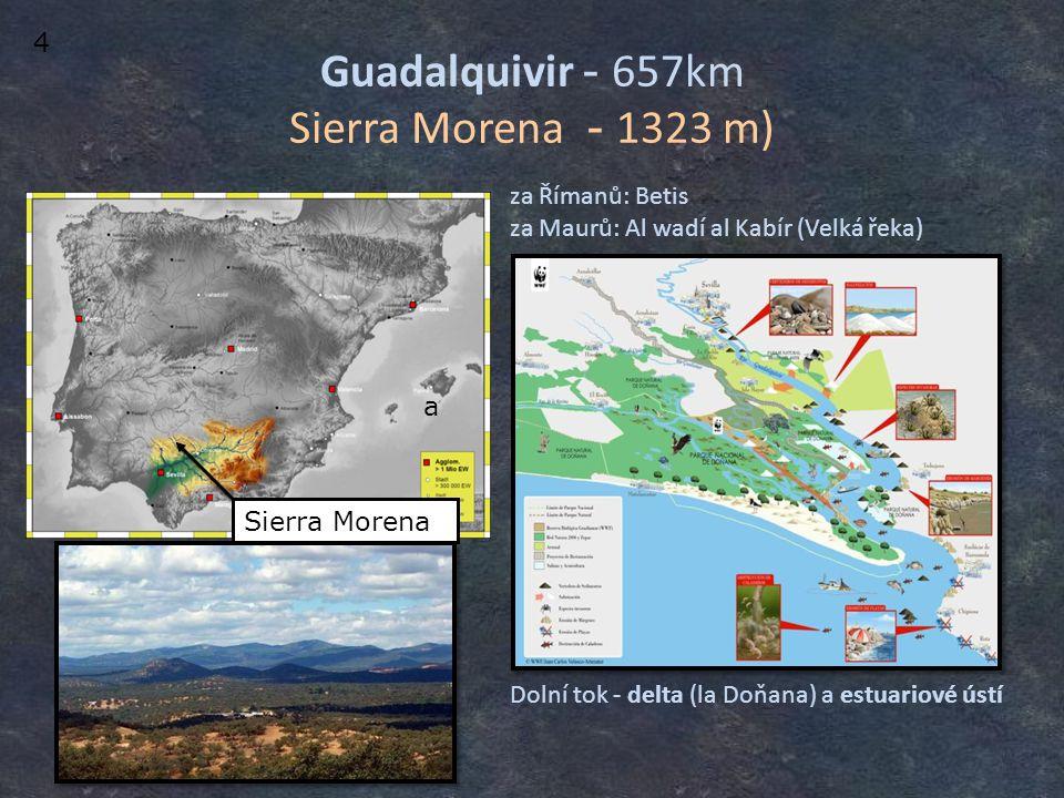 Guadalquivir - 657km Sierra Morena - 1323 m) Dolní tok - delta (la Doňana) a estuariové ústí za Římanů: Betis za Maurů: Al wadí al Kabír (Velká řeka)