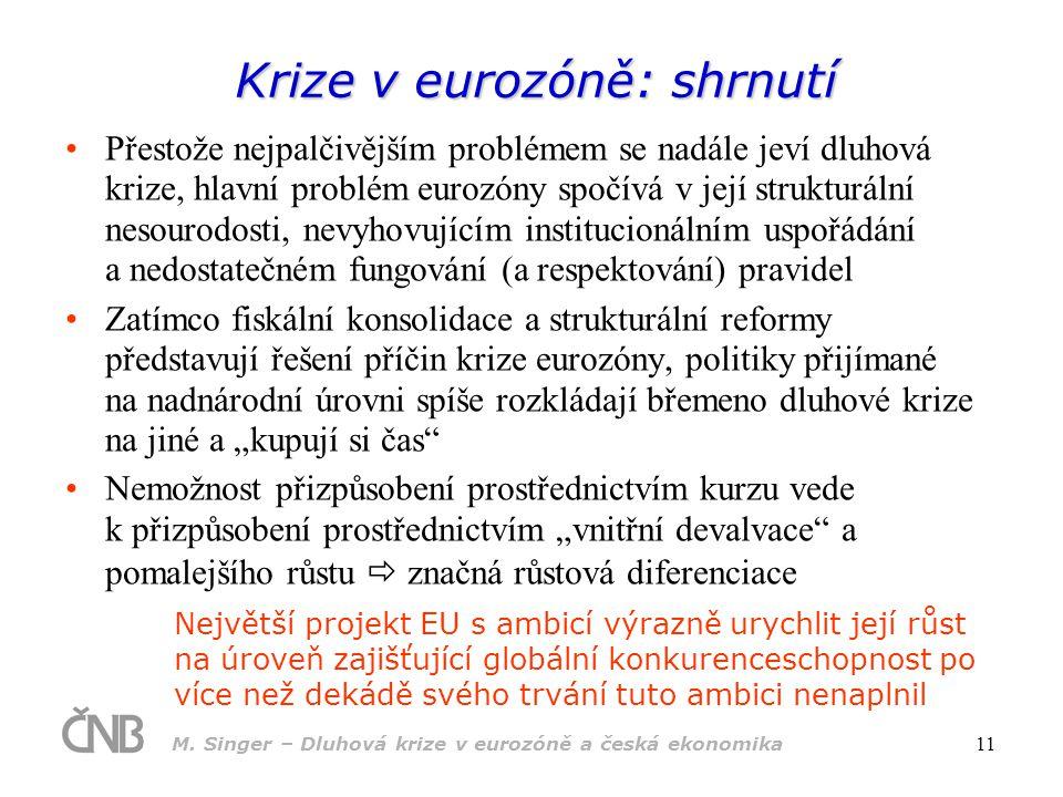 M. Singer – Dluhová krize v eurozóně a česká ekonomika 11 Krize v eurozóně: shrnutí Přestože nejpalčivějším problémem se nadále jeví dluhová krize, hl