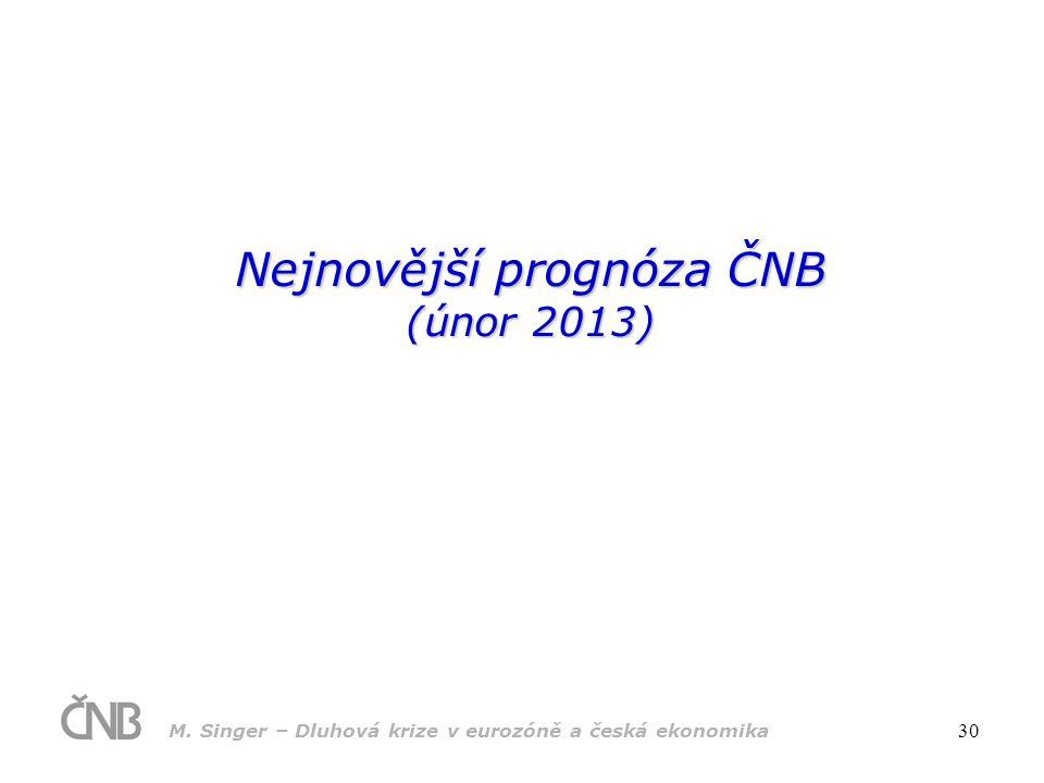 M. Singer – Dluhová krize v eurozóně a česká ekonomika 30 Nejnovější prognóza ČNB (únor 2013)