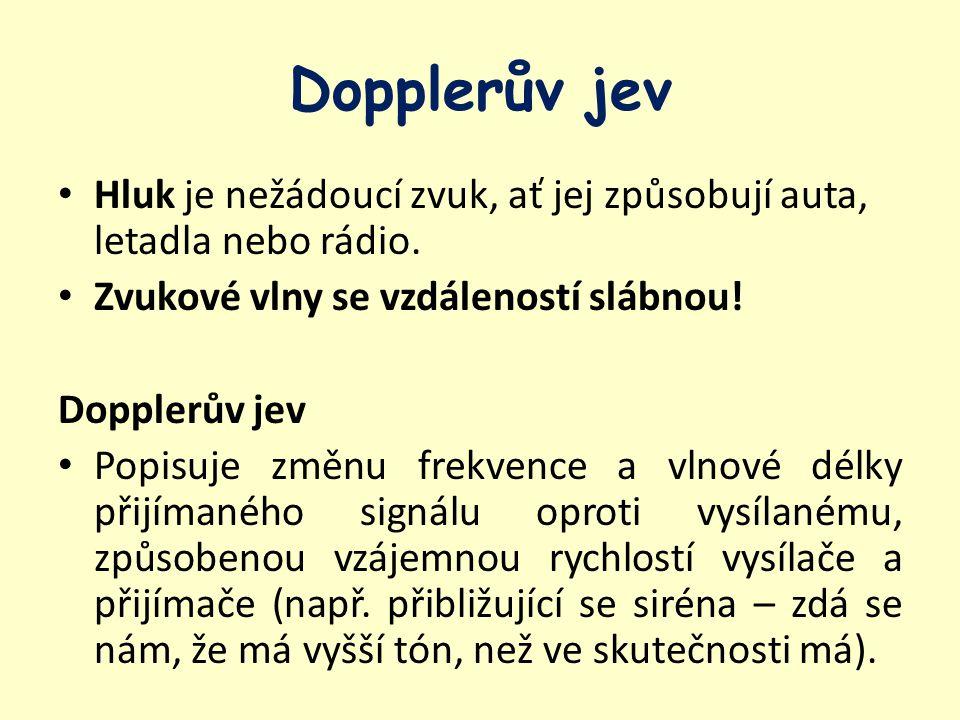 Dopplerův jev Hluk je nežádoucí zvuk, ať jej způsobují auta, letadla nebo rádio. Zvukové vlny se vzdáleností slábnou! Dopplerův jev Popisuje změnu fre