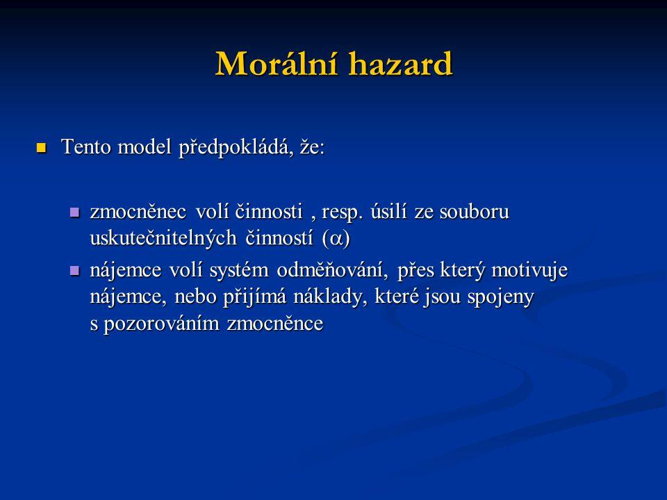 Morální hazard Tento model předpokládá, že: Tento model předpokládá, že: zmocněnec volí činnosti, resp.