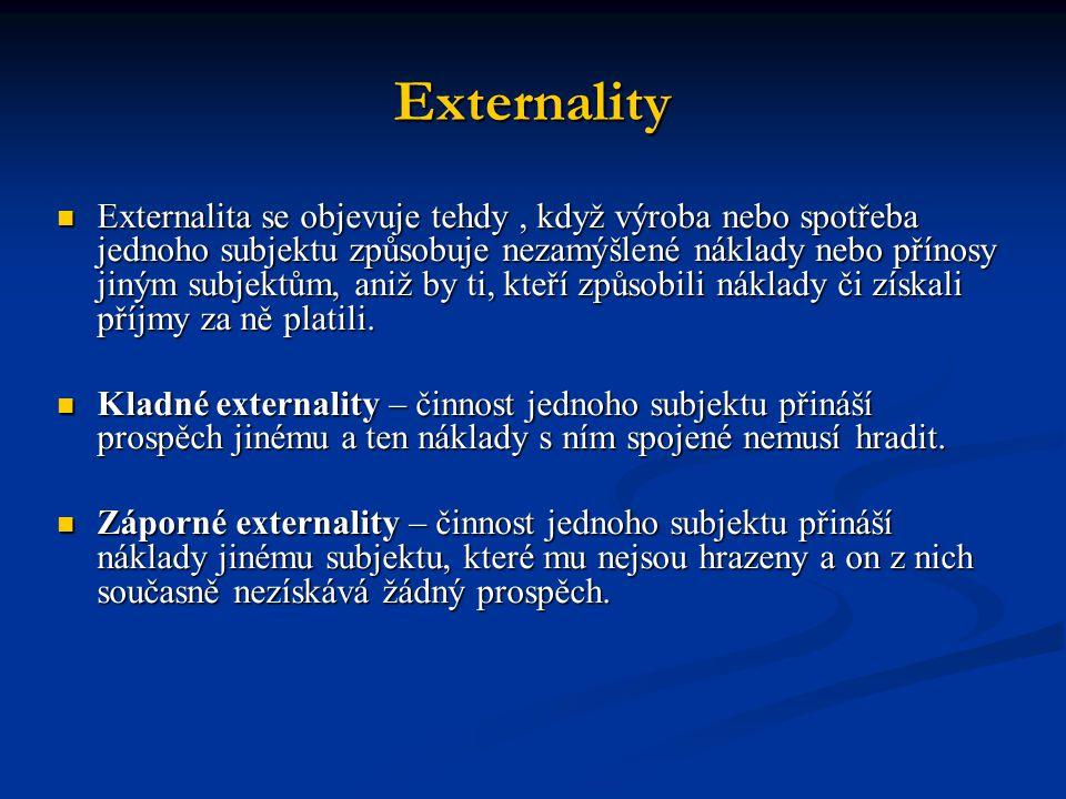 Externality Externalita se objevuje tehdy, když výroba nebo spotřeba jednoho subjektu způsobuje nezamýšlené náklady nebo přínosy jiným subjektům, aniž by ti, kteří způsobili náklady či získali příjmy za ně platili.