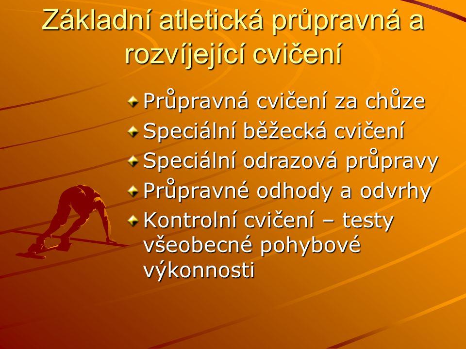 Základní atletická průpravná a rozvíjející cvičení Průpravná cvičení za chůze Speciální běžecká cvičení Speciální odrazová průpravy Průpravné odhody a odvrhy Kontrolní cvičení – testy všeobecné pohybové výkonnosti