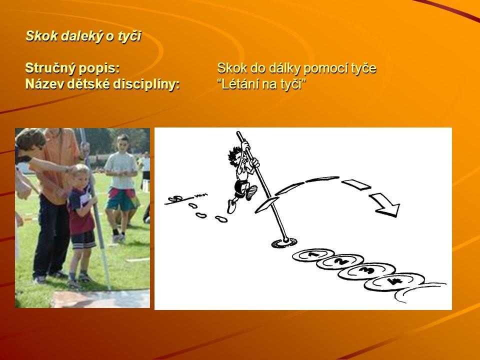 Skok daleký o tyči Stručný popis:Skok do dálky pomocí tyče Název dětské disciplíny: Létání na tyči