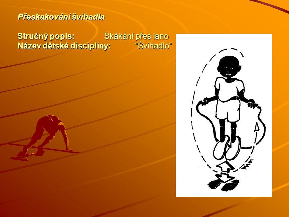Přeskakování švihadla Stručný popis:Skákání přes lano Název dětské disciplíny: Švihadlo