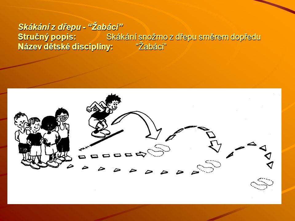 Skákání z dřepu - Žabáci Stručný popis:Skákání snožmo z dřepu směrem dopředu Název dětské disciplíny: Žabáci