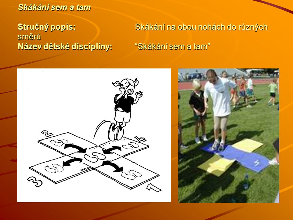 Skákání sem a tam Stručný popis:Skákání na obou nohách do různých směrů Název dětské disciplíny: Skákání sem a tam