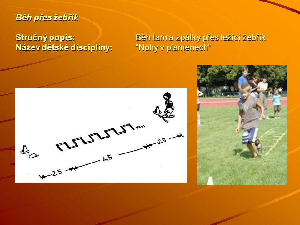 Běh přes žebřík Stručný popis:Běh tam a zpátky přes ležící žebřík Název dětské disciplíny: Nohy v plamenech