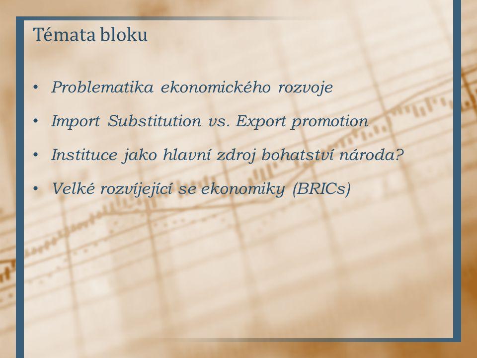 Témata bloku Problematika ekonomického rozvoje Import Substitution vs. Export promotion Instituce jako hlavní zdroj bohatství národa? Velké rozvíjejíc
