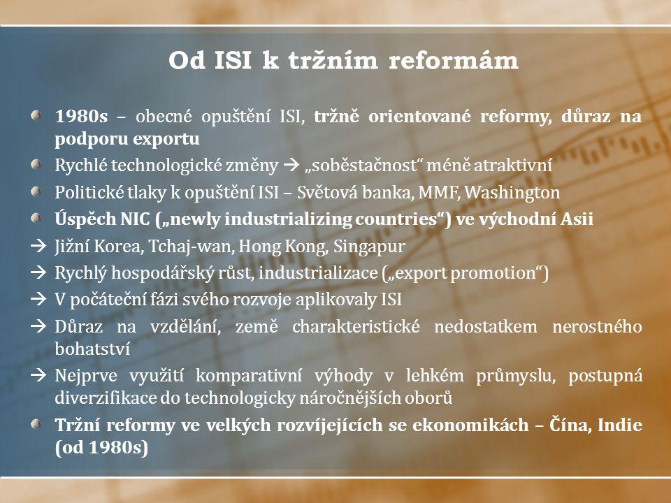 """Od ISI k tržním reformám 1980s – obecné opuštění ISI, tržně orientované reformy, důraz na podporu exportu Rychlé technologické změny  """"soběstačnost"""""""