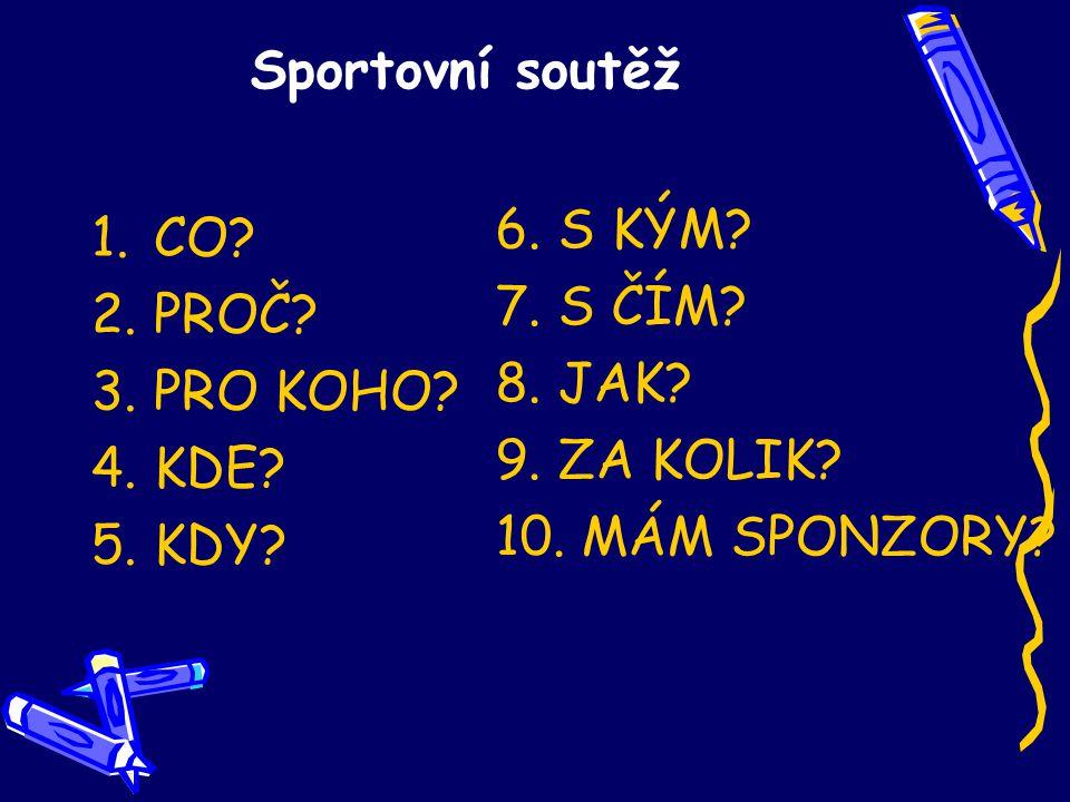 Sportovní soutěž 1.CO. 2.PROČ. 3.PRO KOHO. 4.KDE.