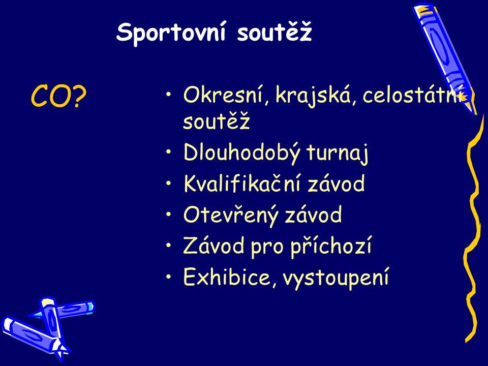 Sportovní soutěž Okresní, krajská, celostátní soutěž Dlouhodobý turnaj Kvalifikační závod Otevřený závod Závod pro příchozí Exhibice, vystoupení CO
