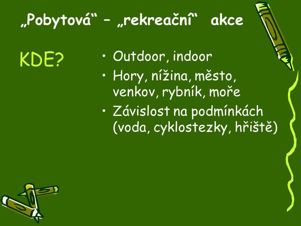 """""""Pobytová – """"rekreační akce Outdoor, indoor Hory, nížina, město, venkov, rybník, moře Závislost na podmínkách (voda, cyklostezky, hřiště) KDE?"""