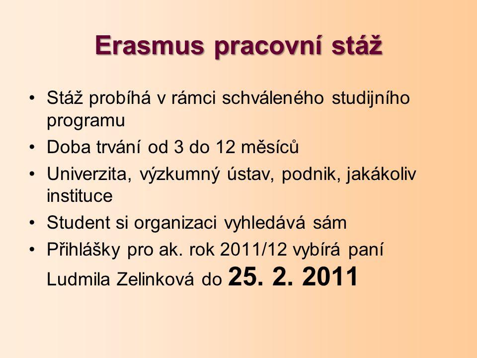 Erasmus pracovní stáž Stáž probíhá v rámci schváleného studijního programu Doba trvání od 3 do 12 měsíců Univerzita, výzkumný ústav, podnik, jakákoliv instituce Student si organizaci vyhledává sám Přihlášky pro ak.